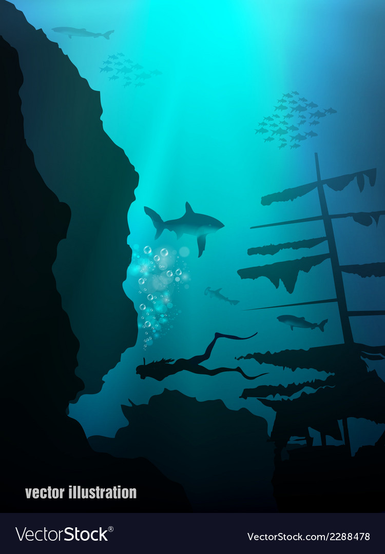 Beautiful and dangerous underwater world vector | Price: 1 Credit (USD $1)