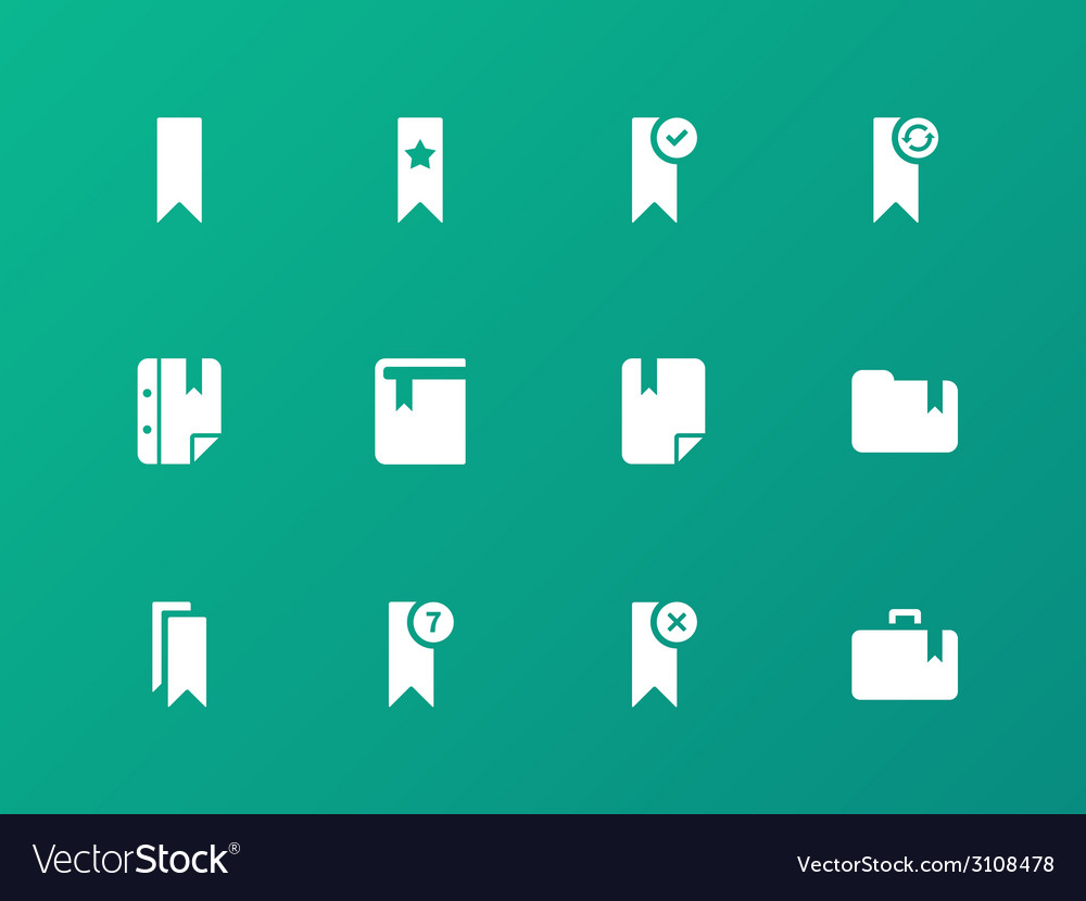 Bookmark tag favorite icons on green background vector | Price: 1 Credit (USD $1)