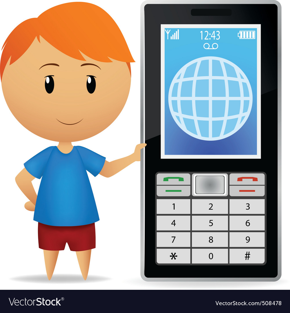 Boy with cell phone vector | Price: 1 Credit (USD $1)