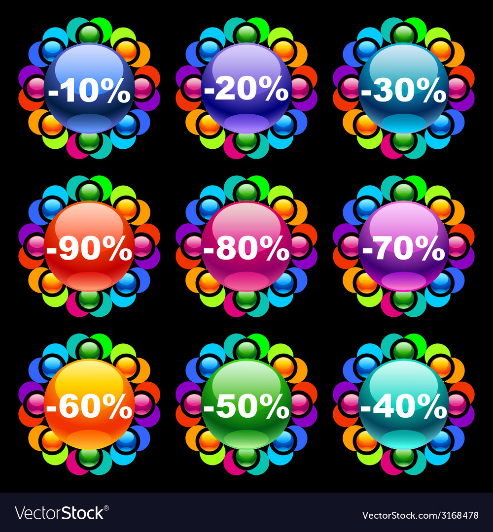 Colorful discount labels vector | Price: 1 Credit (USD $1)
