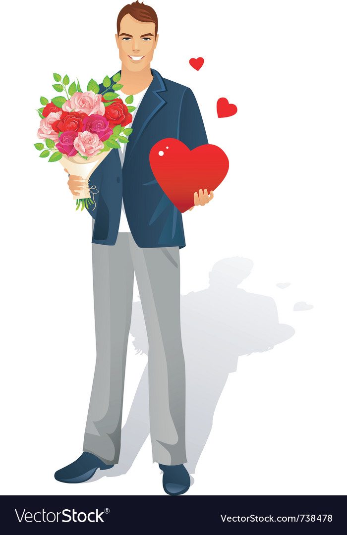 Man with bouquet heart vector | Price: 3 Credit (USD $3)