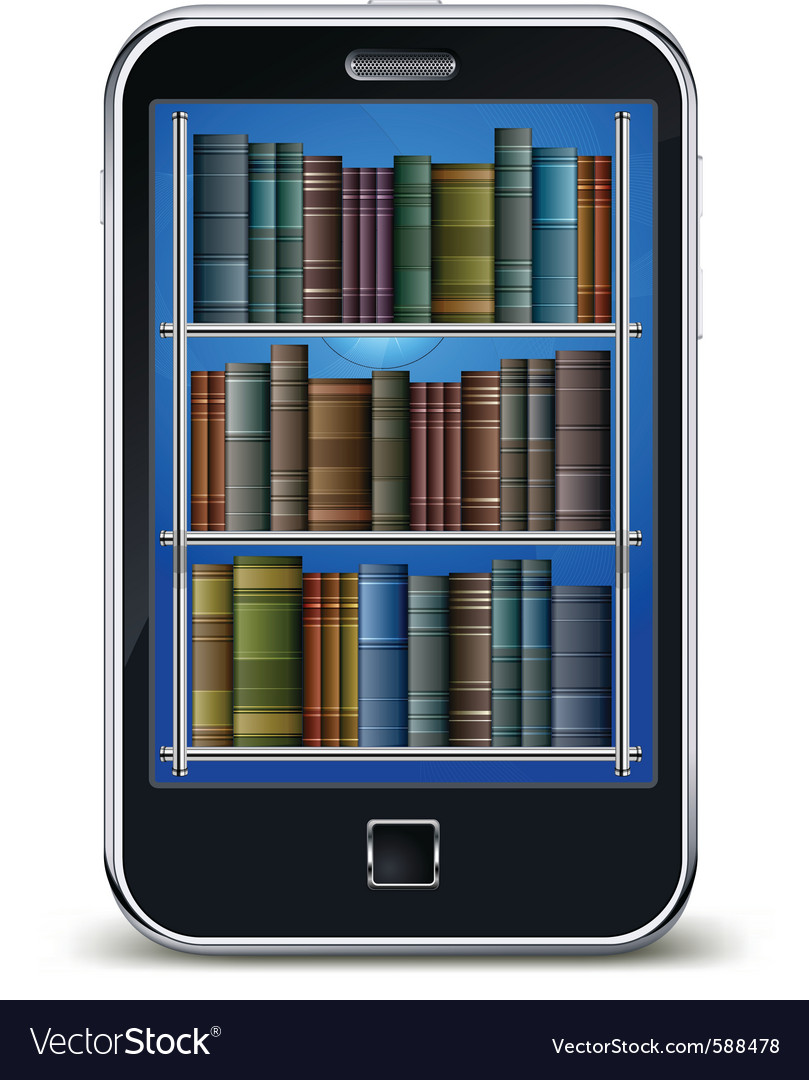 Mobile phone with library of books on the screen s vector | Price: 1 Credit (USD $1)