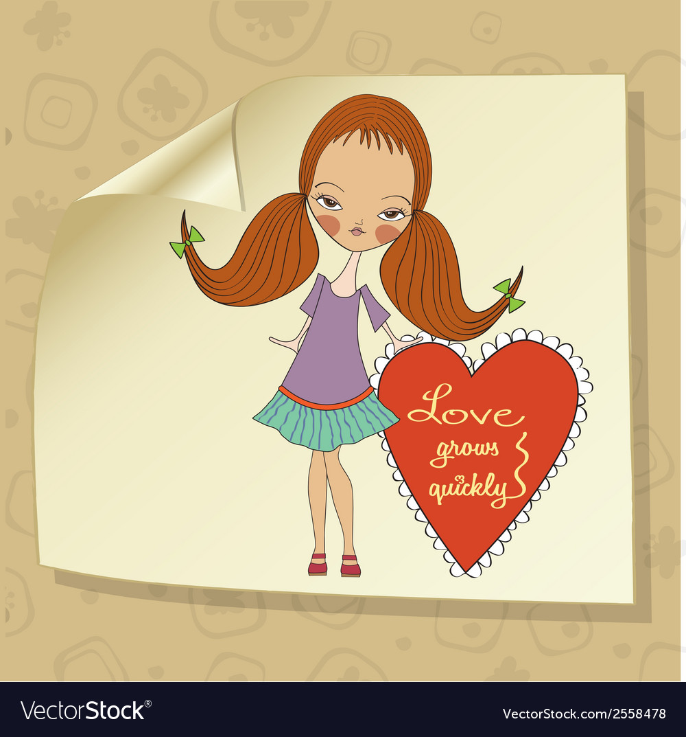 Pretty young girl in love vector | Price: 1 Credit (USD $1)