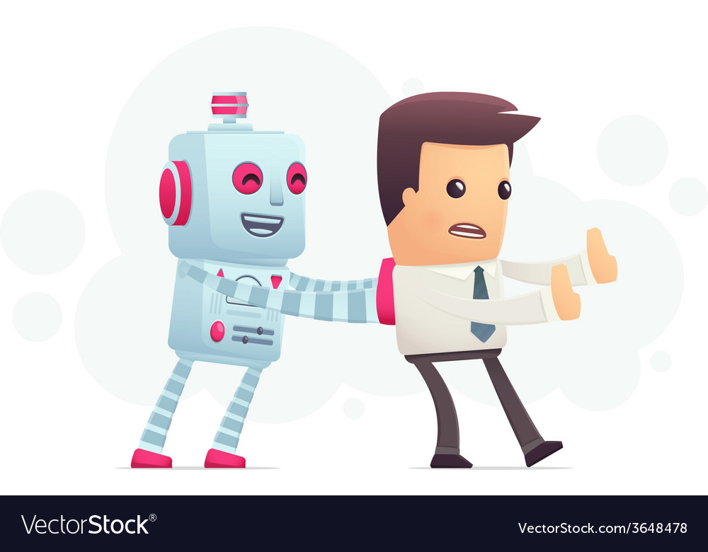 Robot controls man vector | Price: 1 Credit (USD $1)