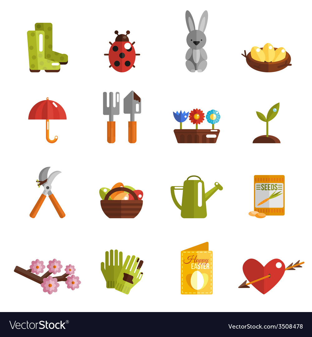 Spring icon flat vector | Price: 1 Credit (USD $1)