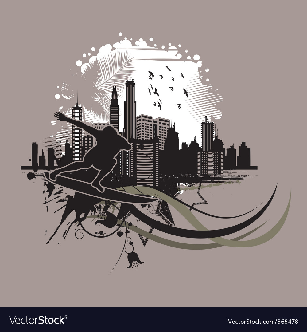 Vintage city background with surfer vector | Price: 1 Credit (USD $1)