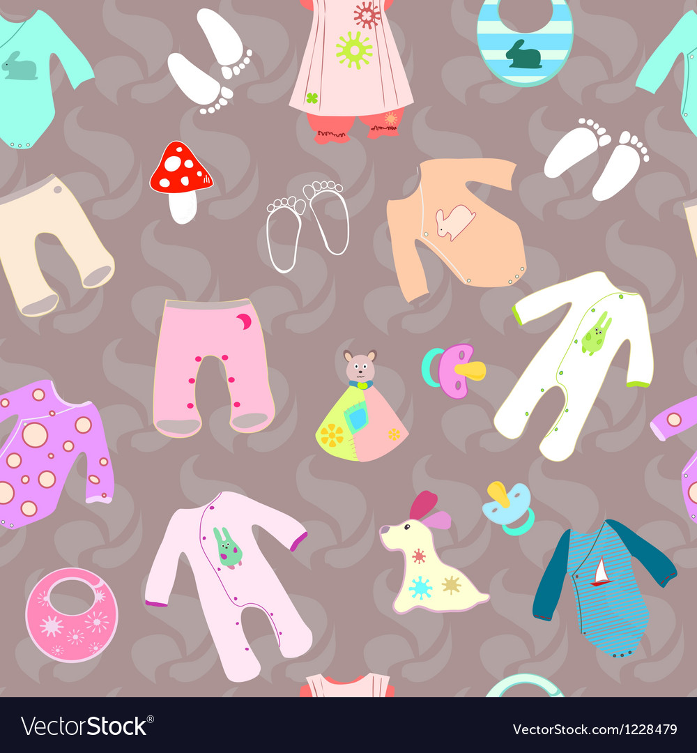Baby shower birth seamless background vector | Price: 1 Credit (USD $1)