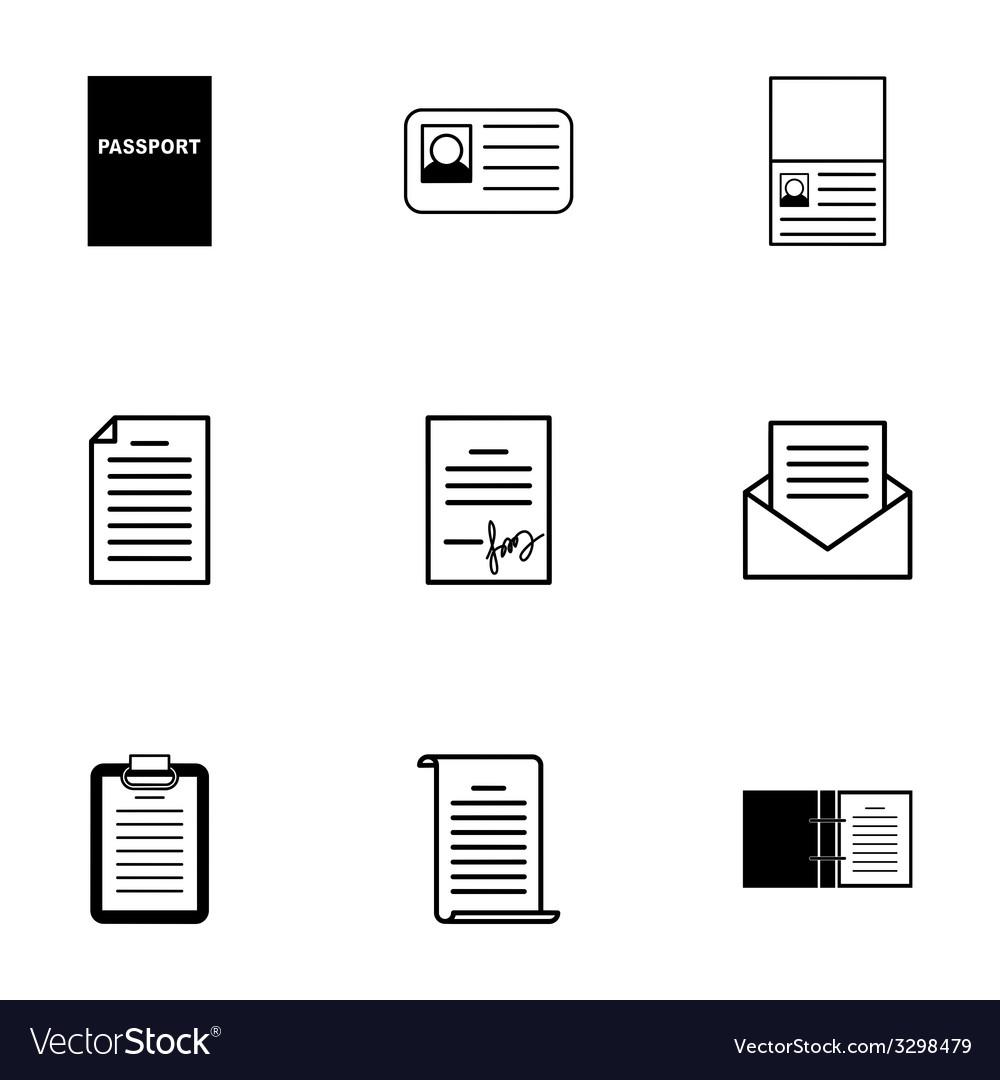 Black document icons set vector | Price: 1 Credit (USD $1)