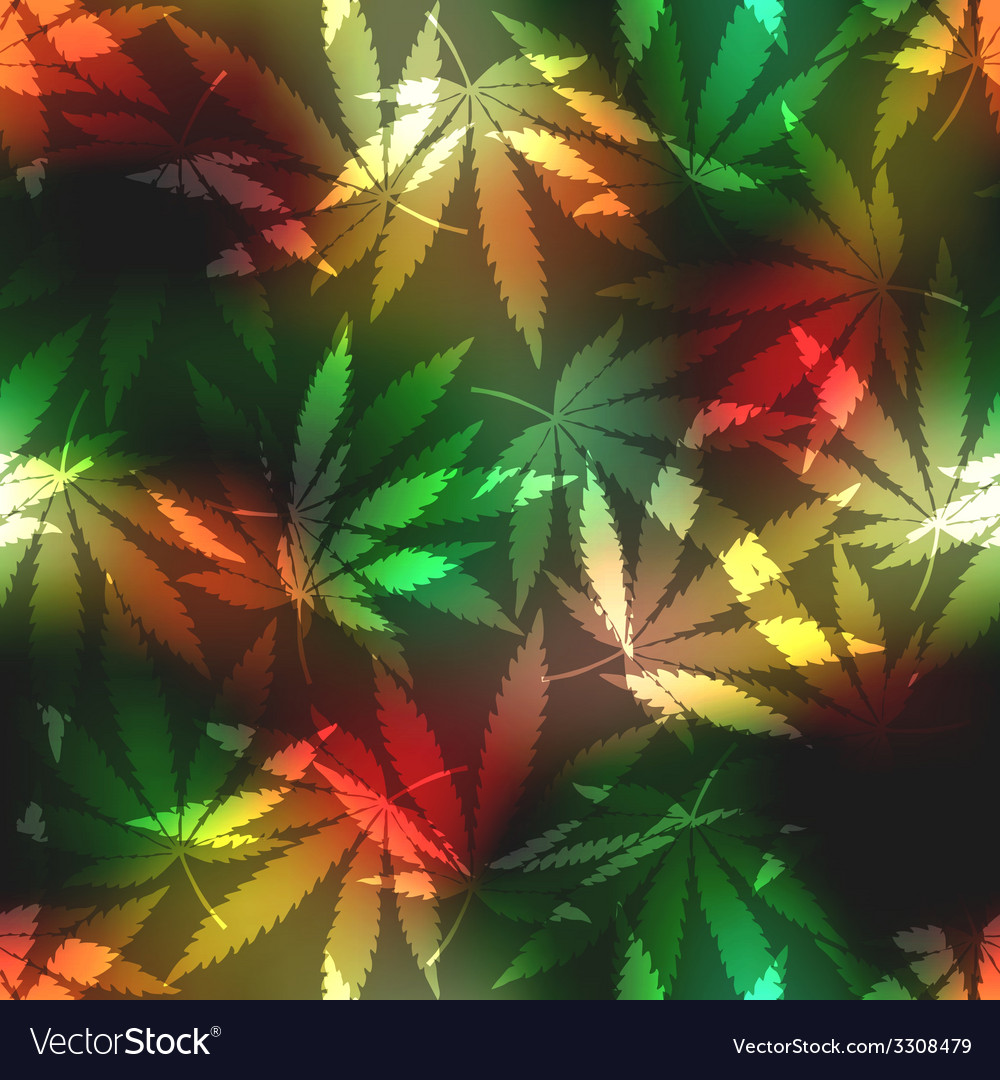 Cannabis leafs on blur rastafarian background vector | Price: 1 Credit (USD $1)