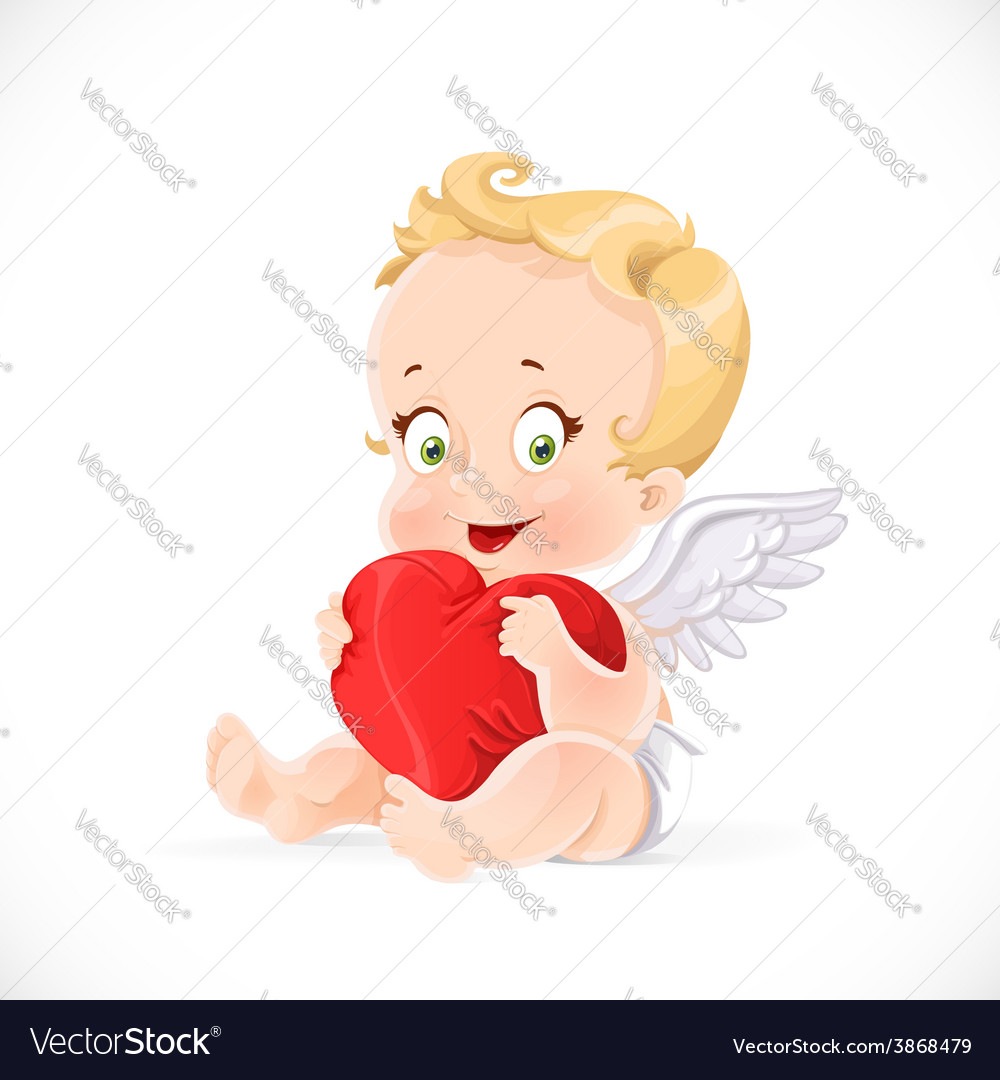 Cute cupid sitting and hugging a soft red pillow vector | Price: 3 Credit (USD $3)