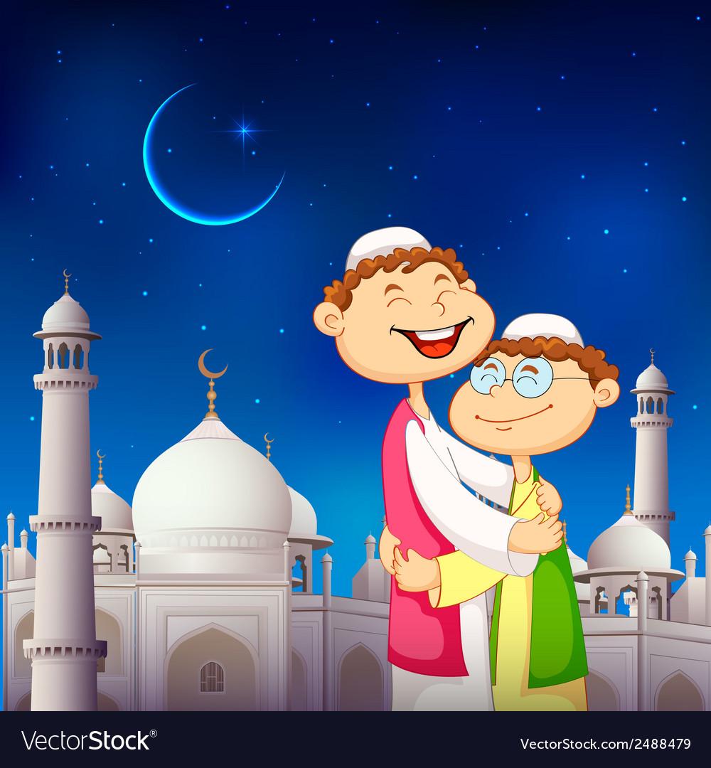 People hugging and wishing eid mubarak vector | Price: 1 Credit (USD $1)
