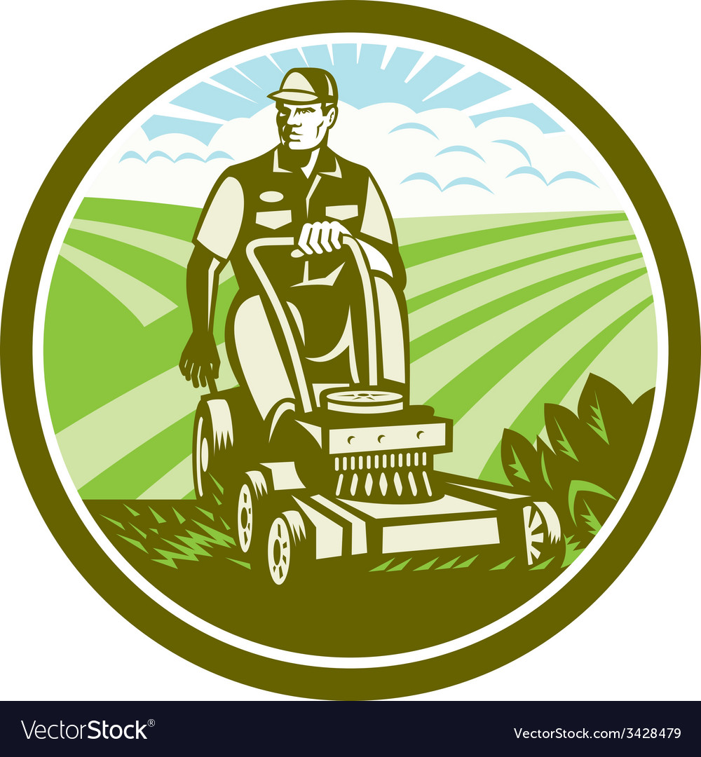 Ride on lawn mower vintage retro vector | Price: 1 Credit (USD $1)