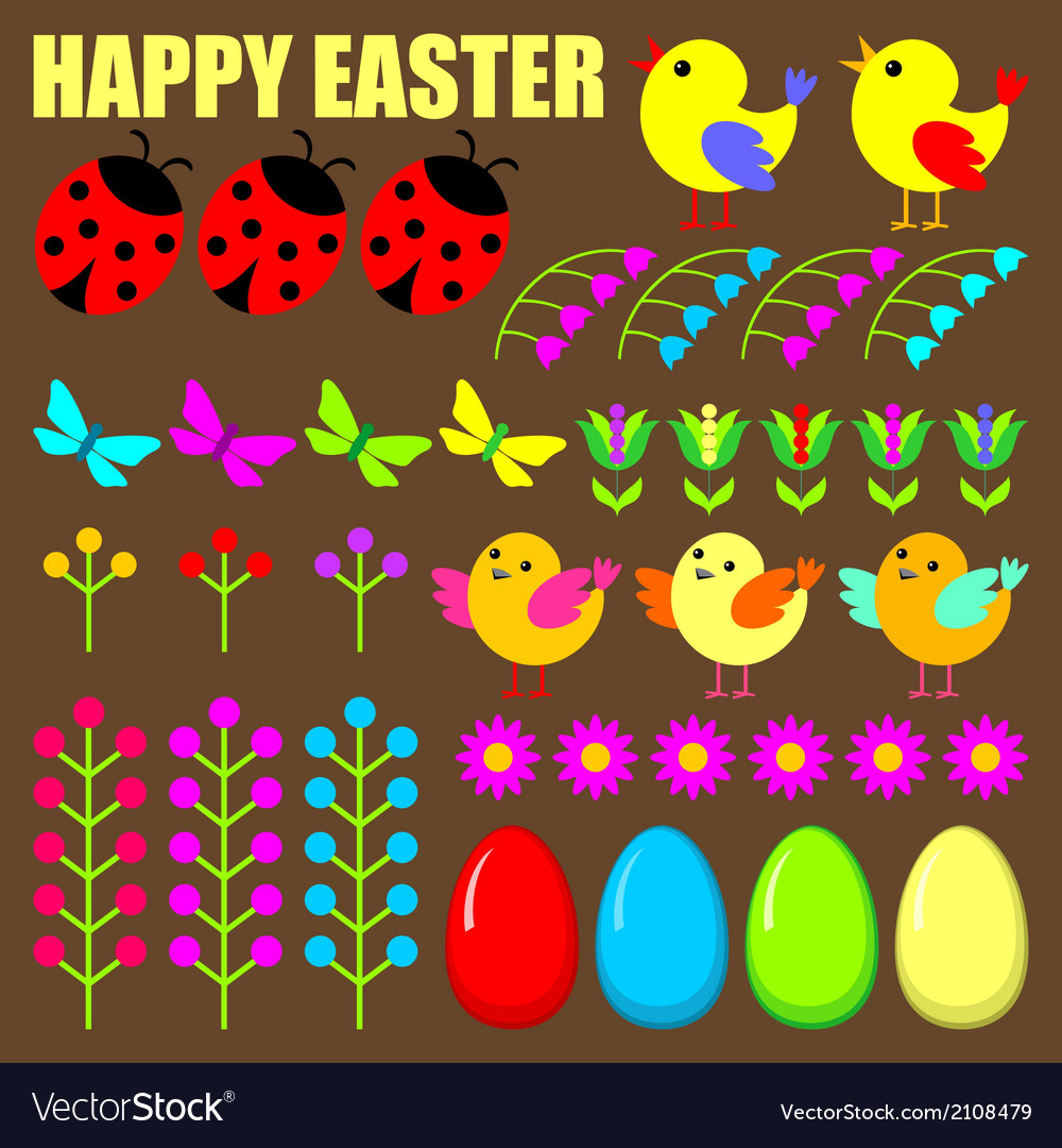 Set of easter eggsanimals and flowers vector | Price: 1 Credit (USD $1)