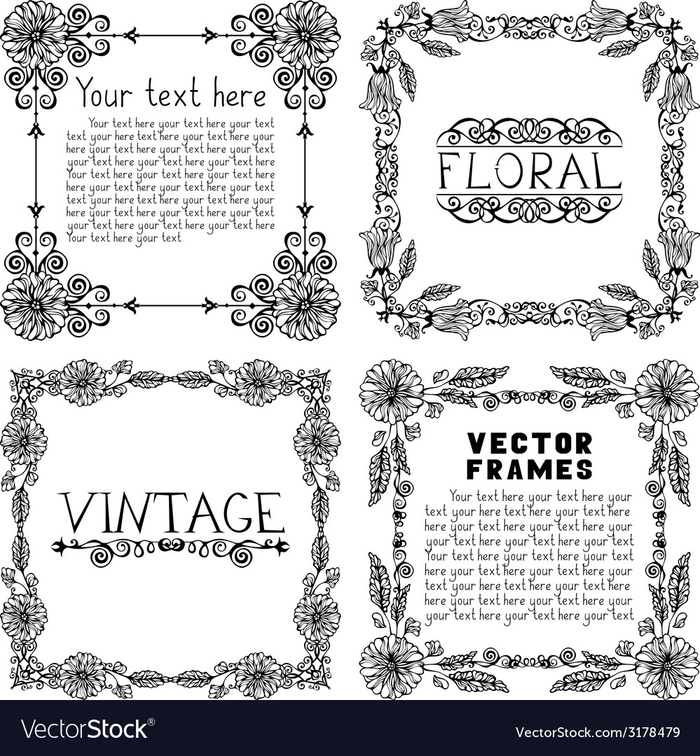 Set of four vintage floral frames vector | Price: 1 Credit (USD $1)