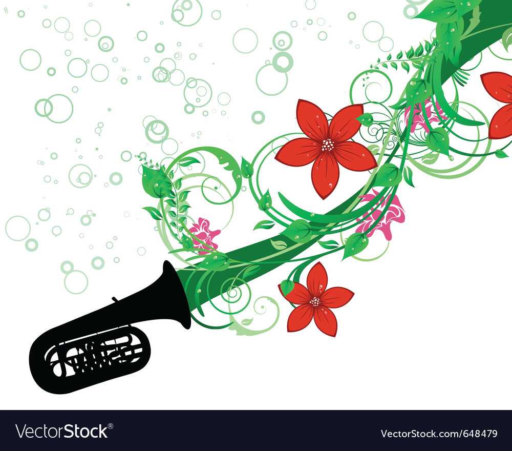 Tuba with floral border vector | Price: 1 Credit (USD $1)