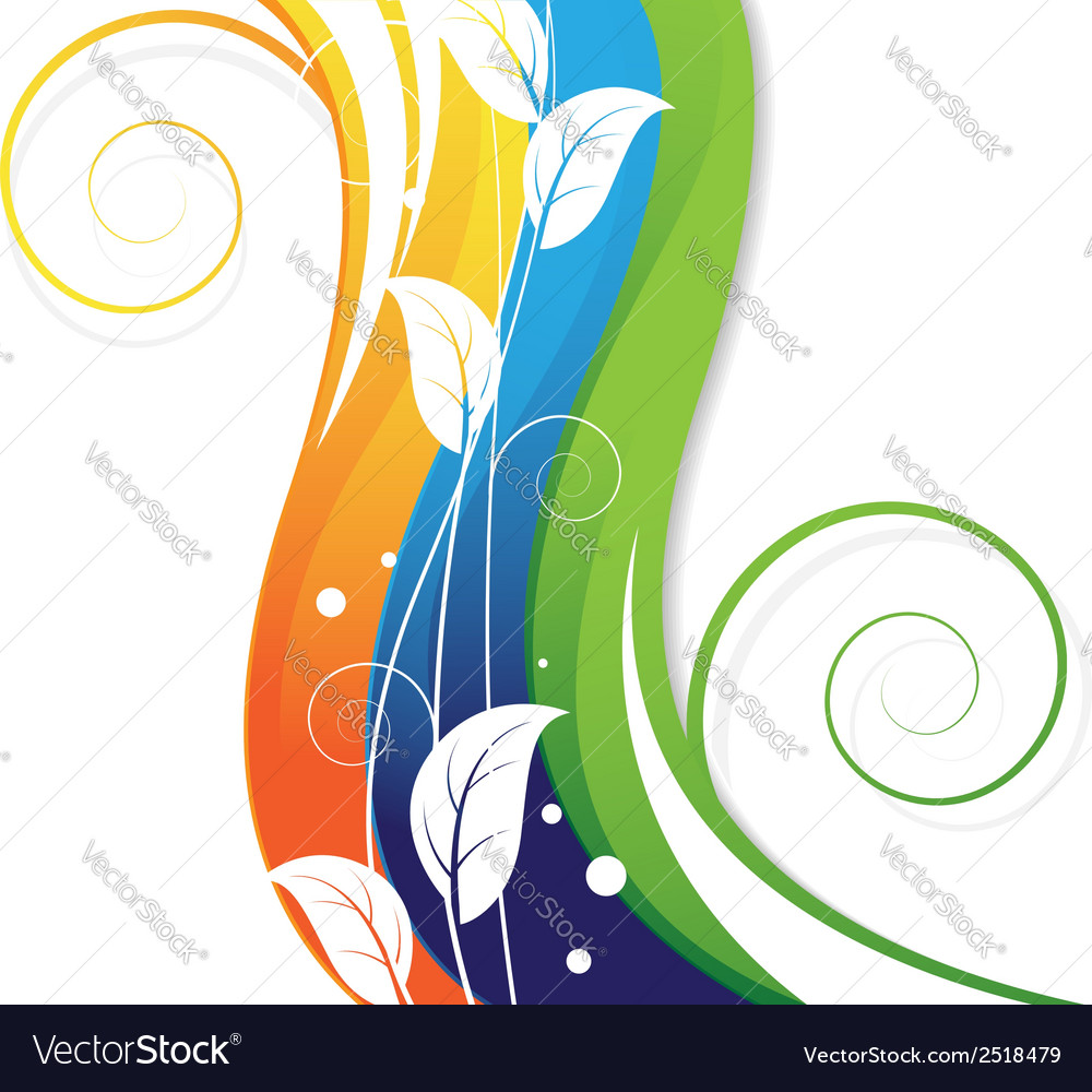 White leaves on abstract rainbow background vector | Price: 1 Credit (USD $1)