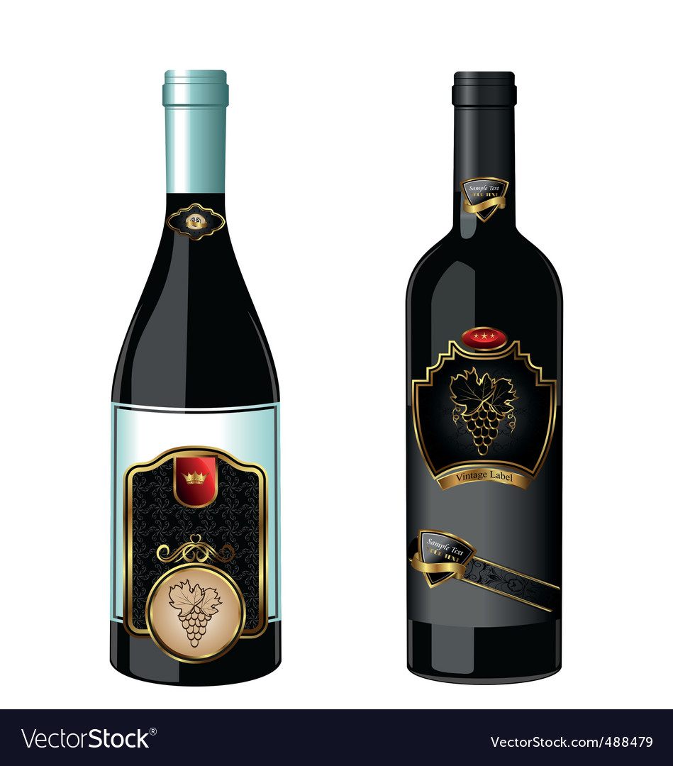 Wine bottles with label vector | Price: 1 Credit (USD $1)
