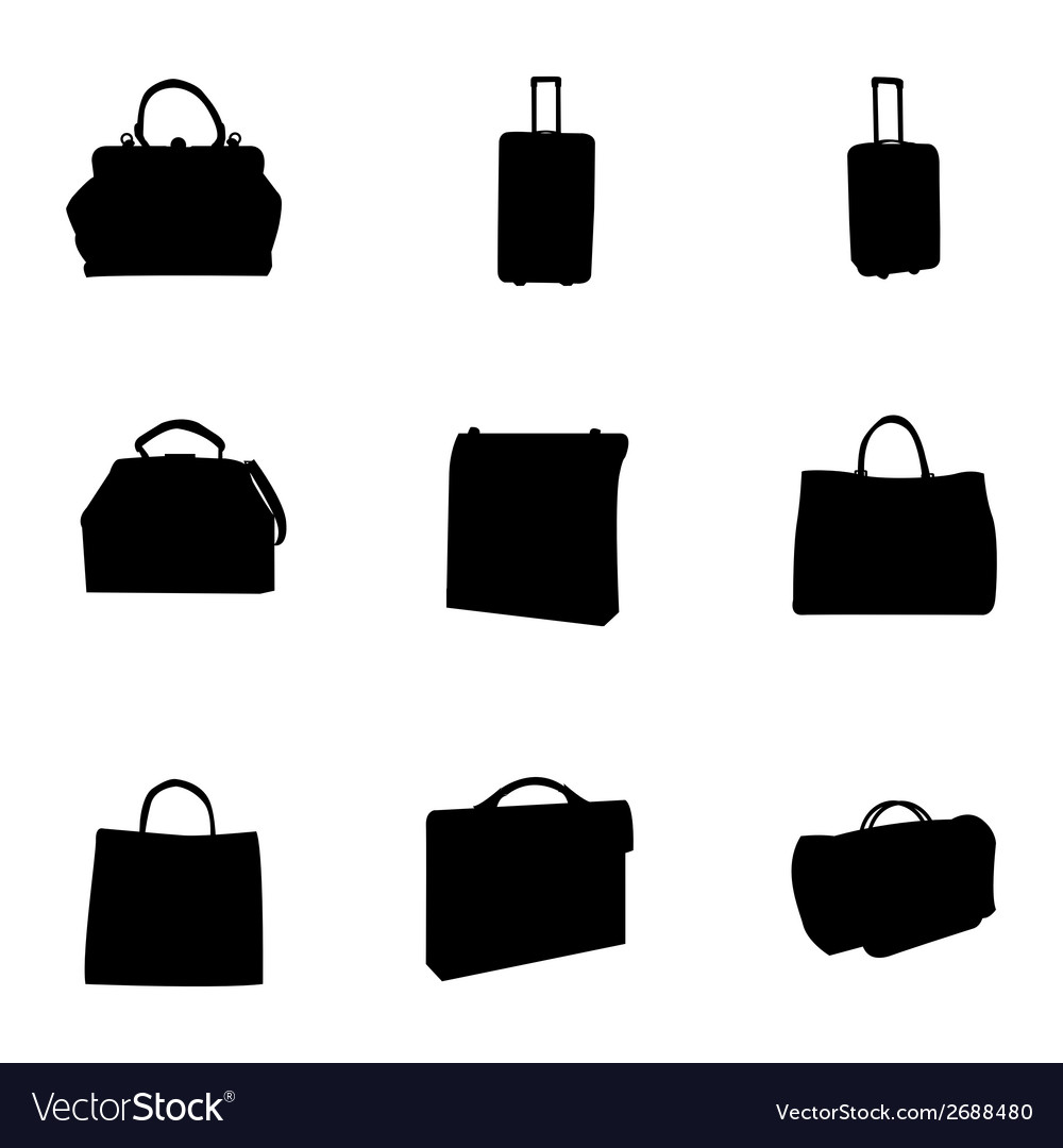 Black bag icons set vector | Price: 1 Credit (USD $1)