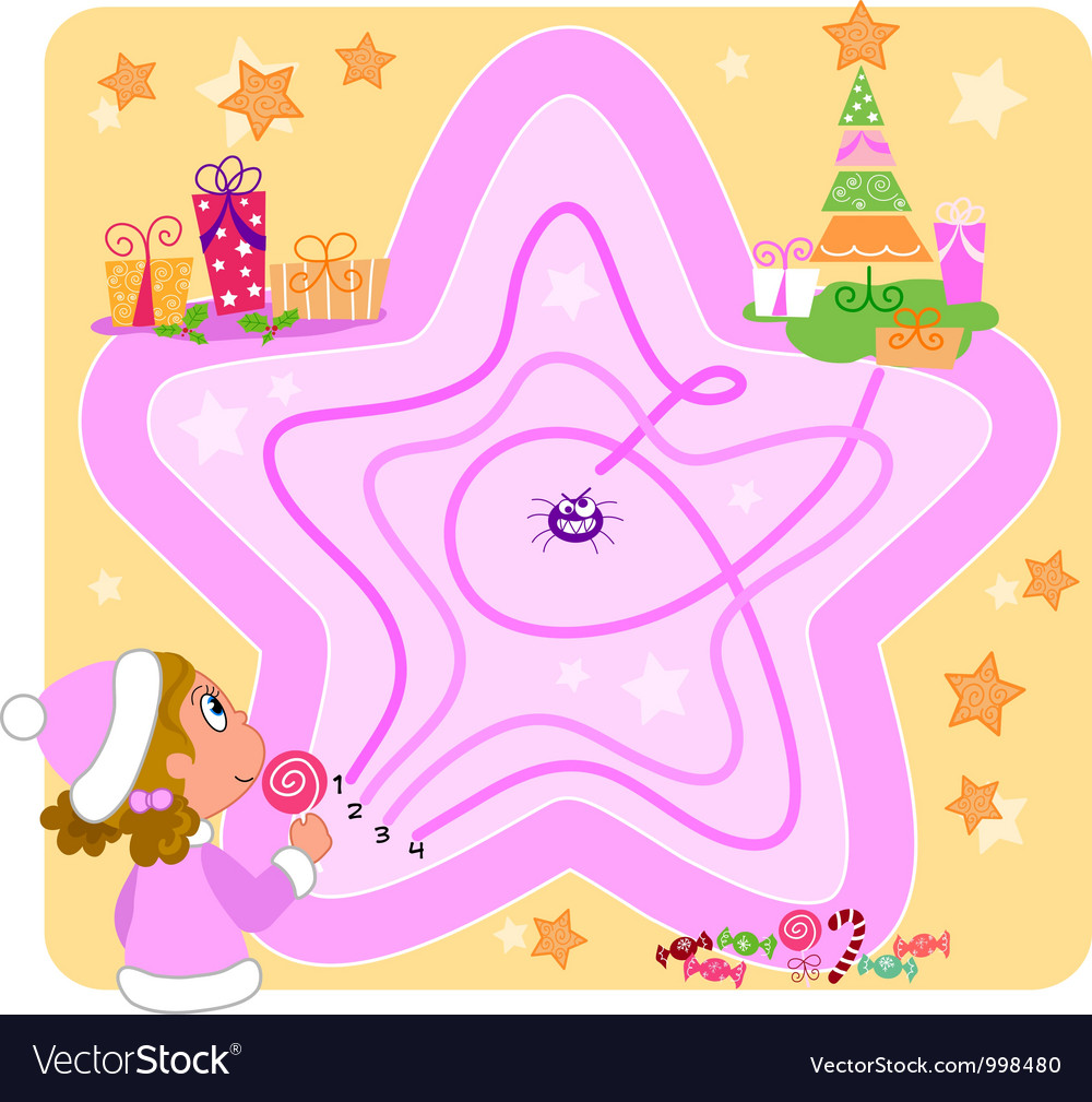 Christmas maze game for kids vector   Price: 3 Credit (USD $3)