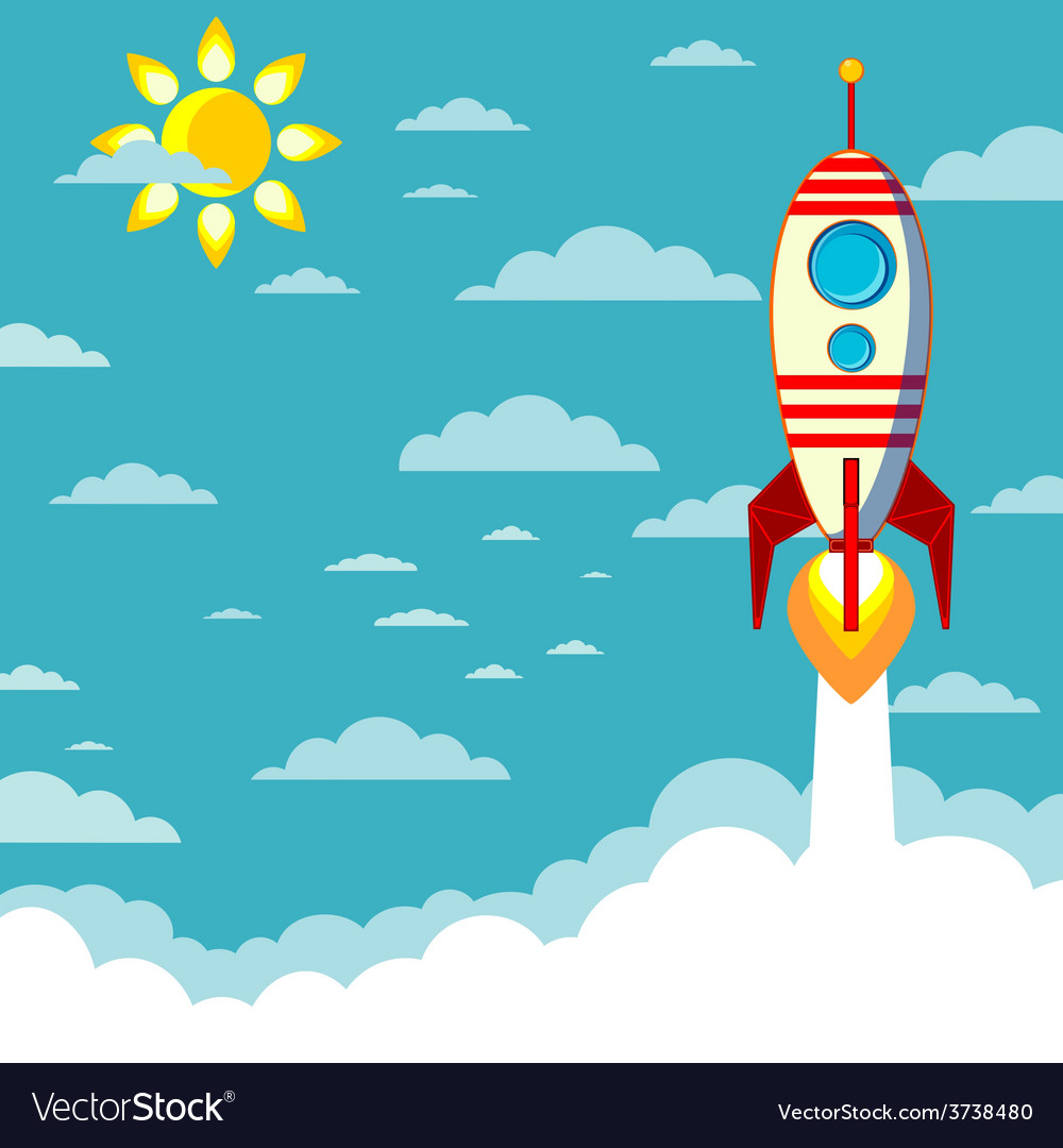 Flying rocket with space for text vector | Price: 1 Credit (USD $1)