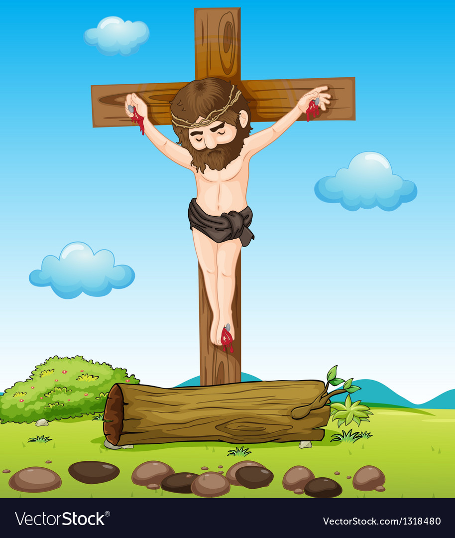 Jesus christ at the cross vector | Price: 1 Credit (USD $1)