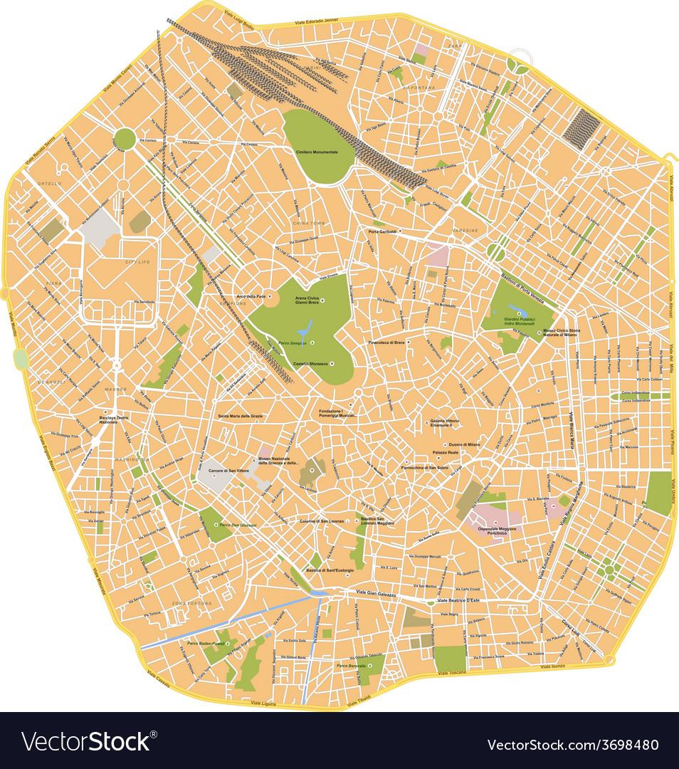 Milano city map vector | Price: 1 Credit (USD $1)