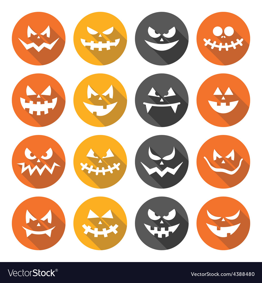Scary halloween pumpkin faces flat design icons vector | Price: 1 Credit (USD $1)