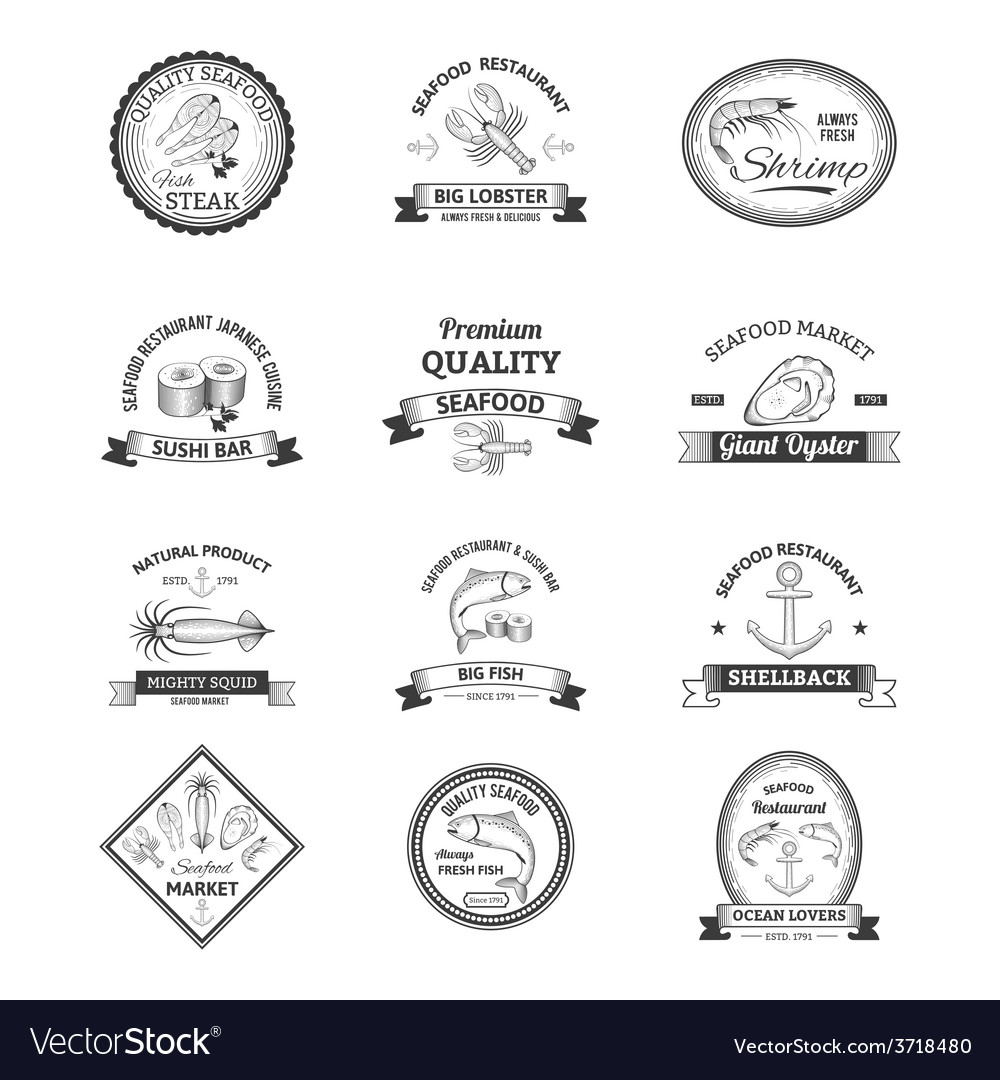 Seafood retro emblems vector | Price: 1 Credit (USD $1)