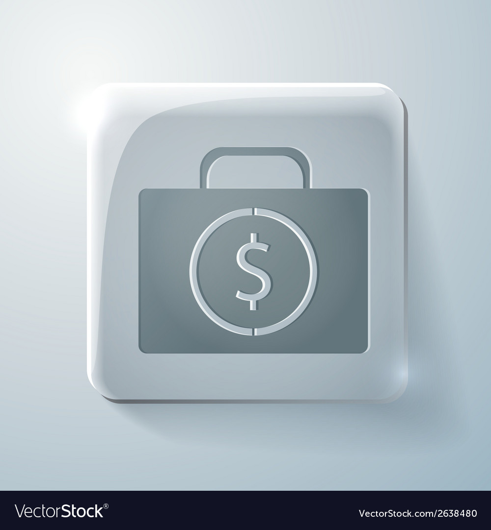 Suitcase with money glass square icon vector | Price: 1 Credit (USD $1)