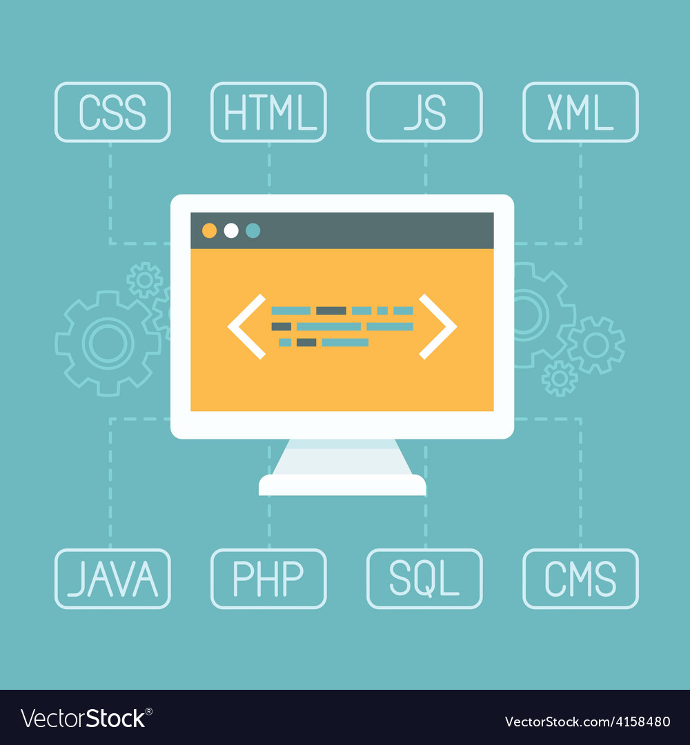 Web development concept in flat style vector | Price: 1 Credit (USD $1)