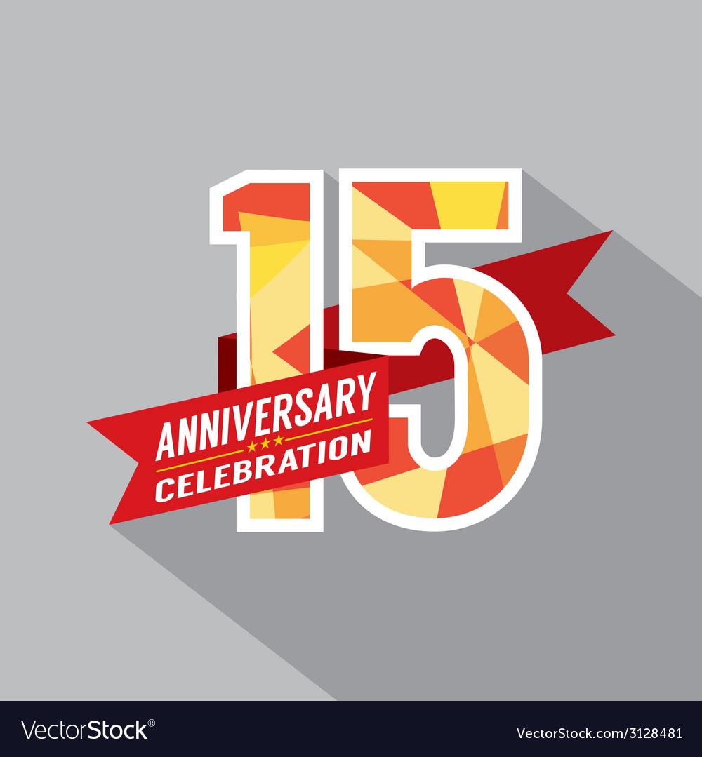 15th years anniversary celebration design vector | Price: 1 Credit (USD $1)