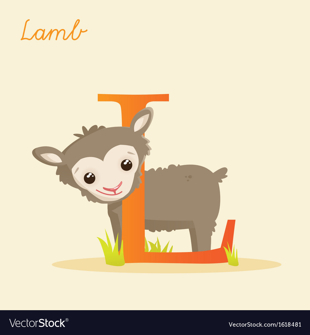Animal alphabet with lamb vector | Price: 1 Credit (USD $1)