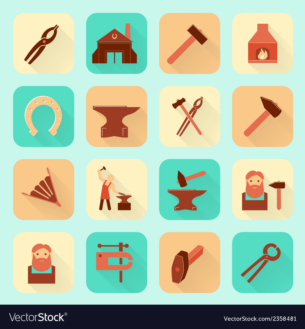 Blacksmith icons set vector | Price: 1 Credit (USD $1)