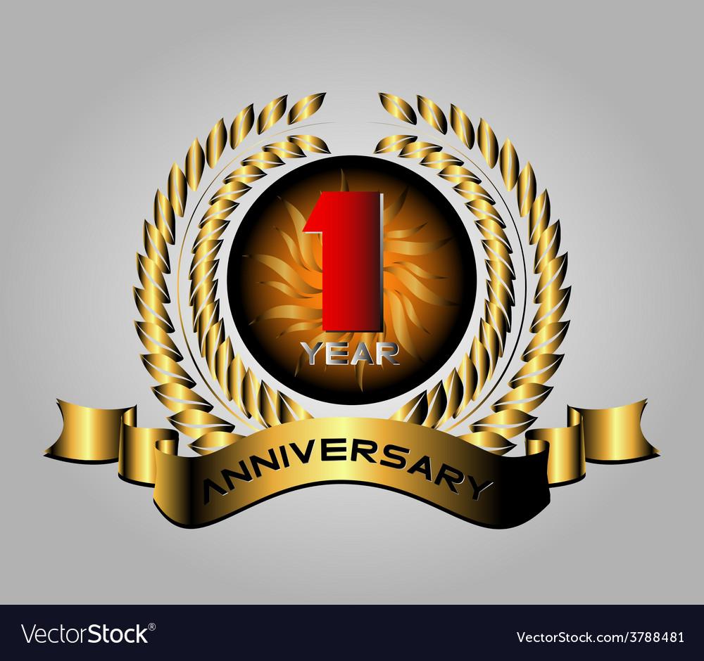 Celebrating 1 years anniversary retro label vector | Price: 1 Credit (USD $1)