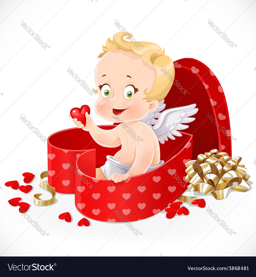 Cute cupid sitting in a gift box in heart shape vector | Price: 3 Credit (USD $3)