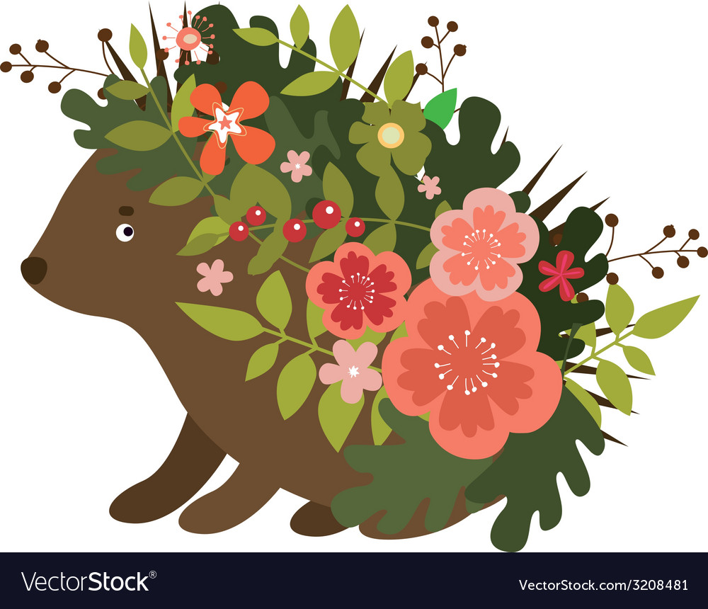 Cute hedgehog with leaves and flowers vector | Price: 1 Credit (USD $1)