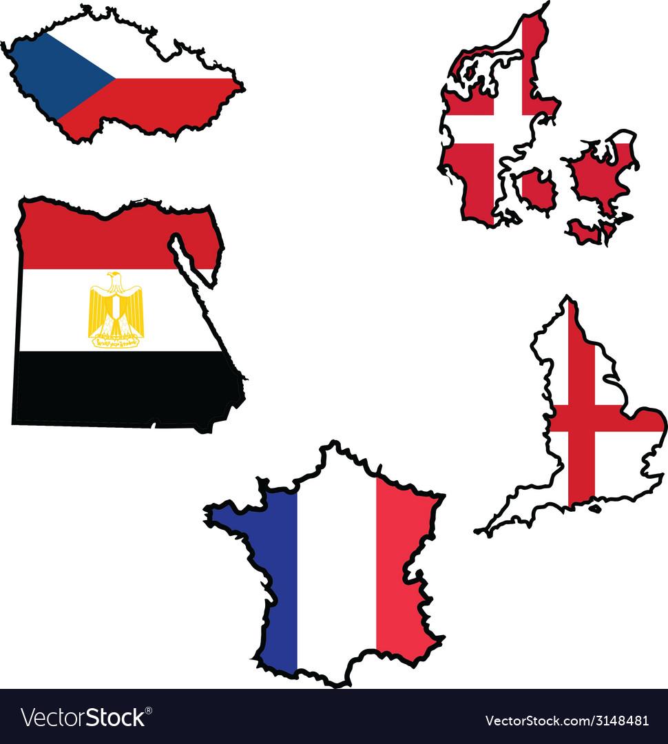 Flag in map of czech republicdenmarkegyptenglandfr vector | Price: 1 Credit (USD $1)