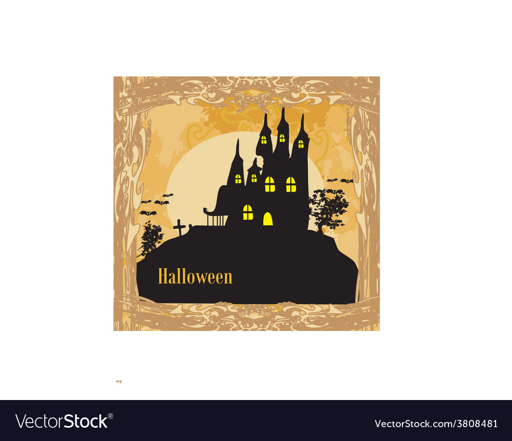 Grungy halloween background with haunted house vector | Price: 1 Credit (USD $1)