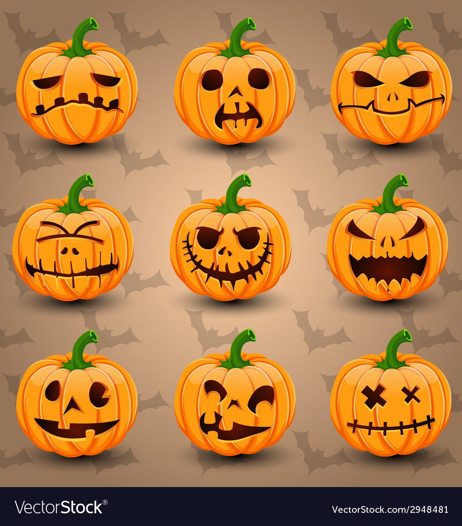 Halloween icon set of pumpkins vector | Price: 3 Credit (USD $3)