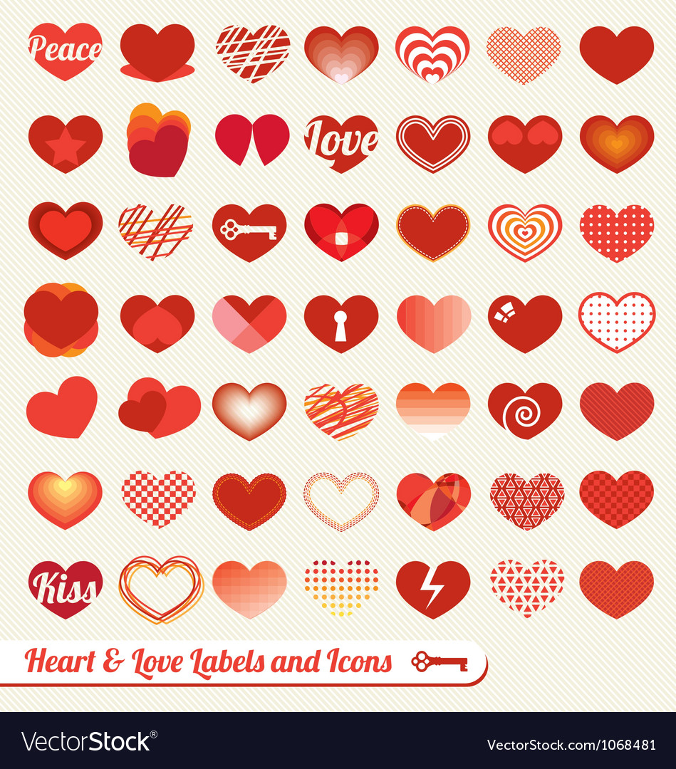 Heart labels and icons collection vector | Price: 1 Credit (USD $1)