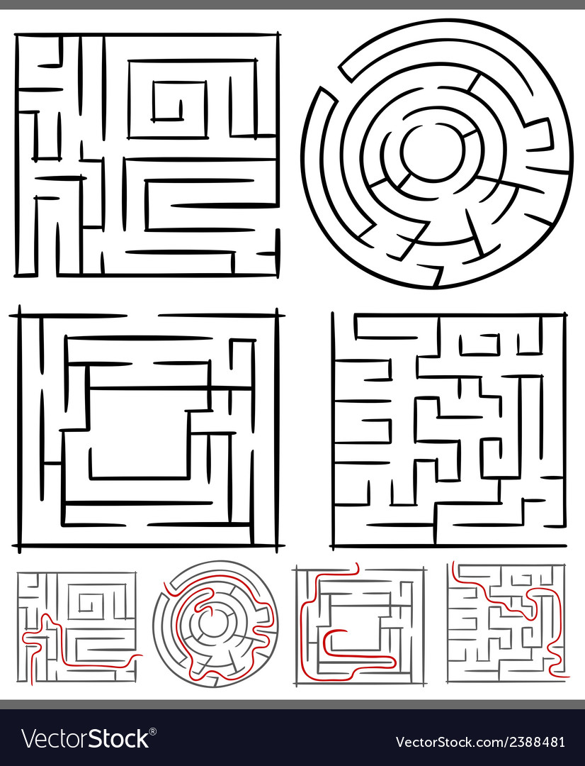 Mazes or labyrinths diagrams set vector | Price: 1 Credit (USD $1)
