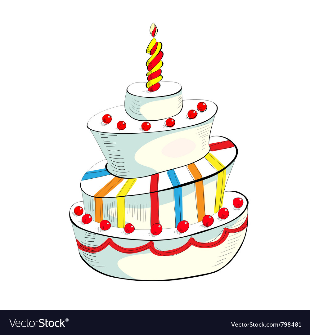 Of cake with candle vector | Price: 1 Credit (USD $1)