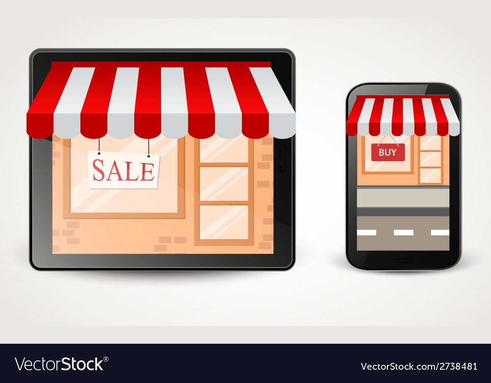 Online store shopping concept on smartphone vector | Price: 1 Credit (USD $1)