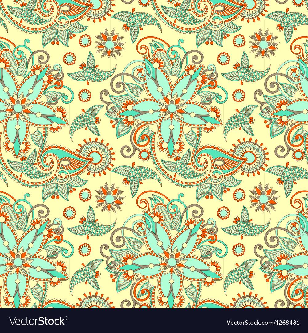 Seamless flower paisley design vector | Price: 1 Credit (USD $1)