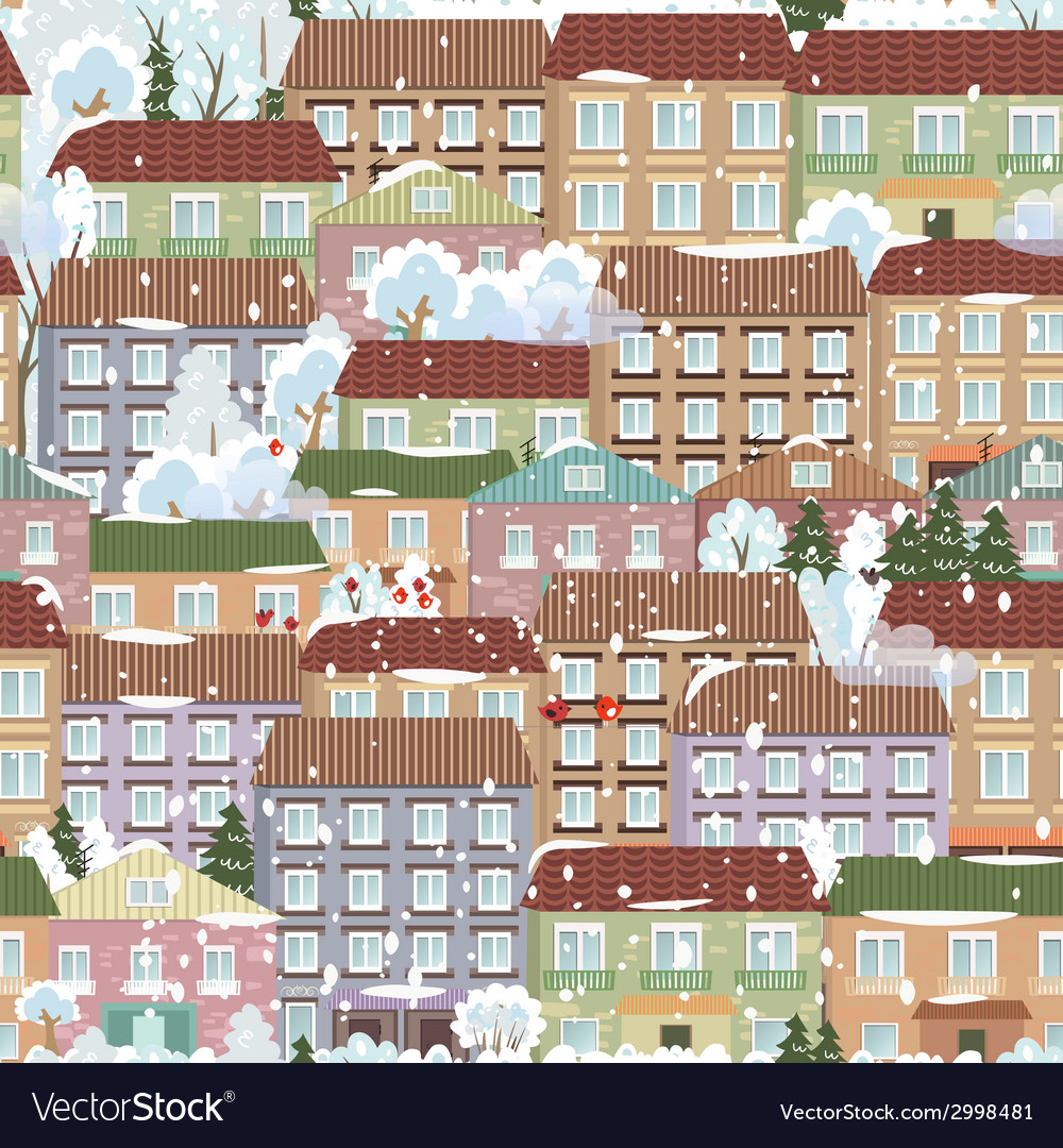 Seamless texture with a winter cute houses vector   Price: 1 Credit (USD $1)