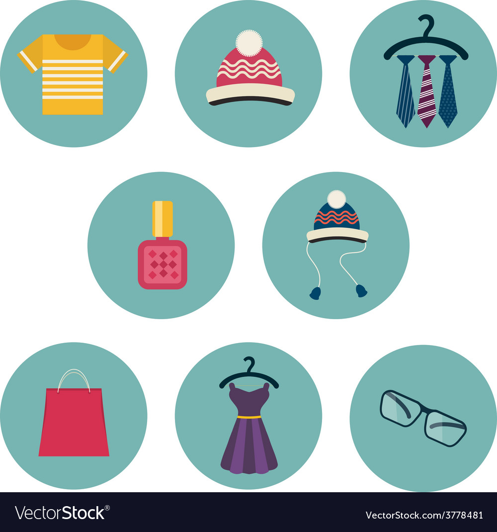 Series of eight flat icons the clothes and vector | Price: 1 Credit (USD $1)
