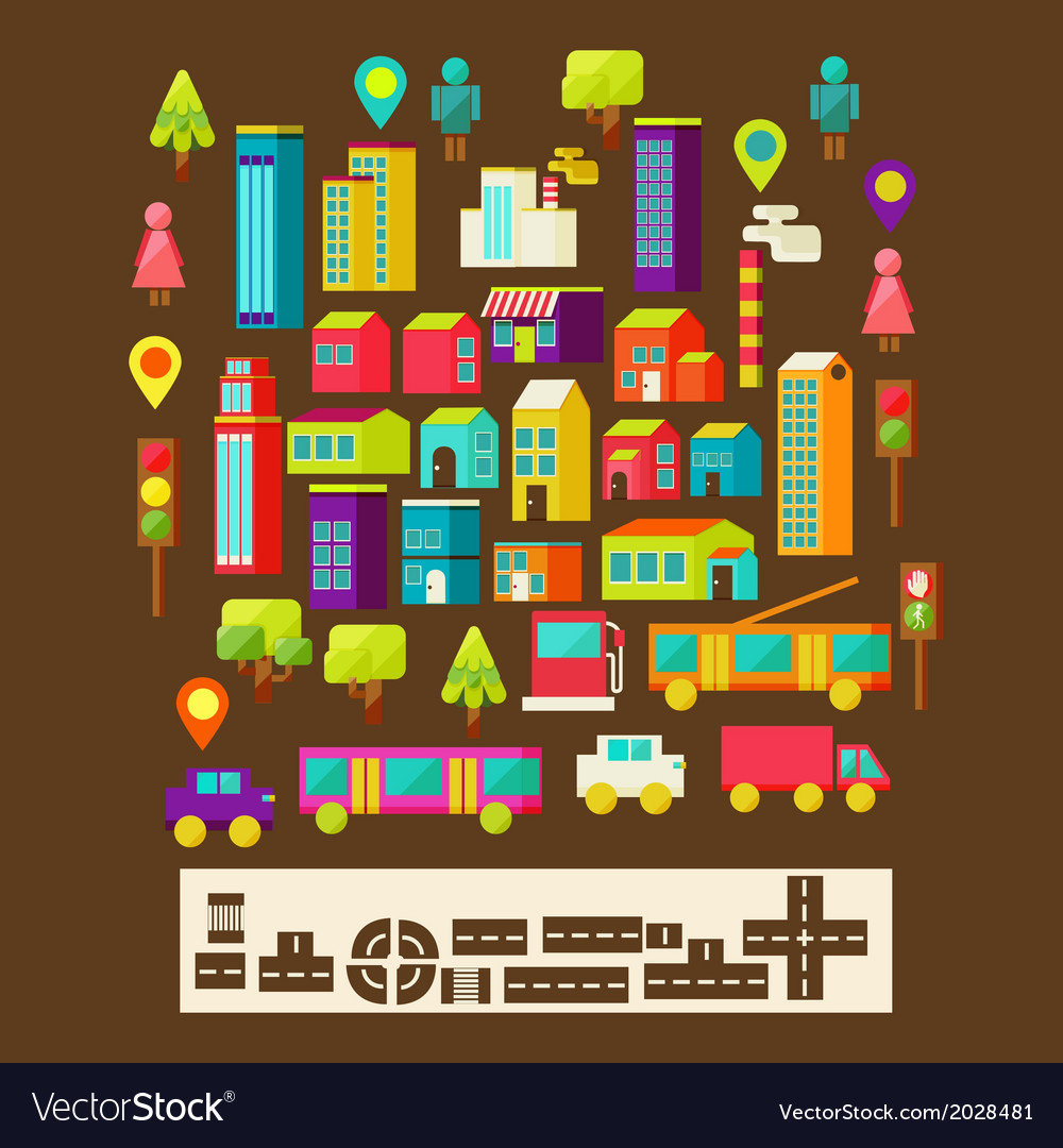 Set of city infographics in a flat style vector | Price: 1 Credit (USD $1)