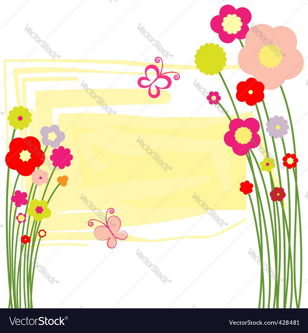 Springtime floral butterfly postcard vector | Price:  Credit (USD $)