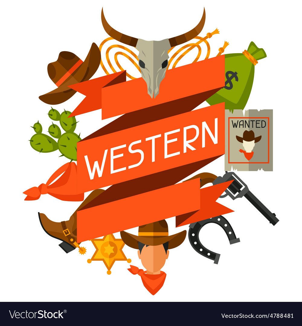 Wild west background with cowboy objects and vector | Price: 1 Credit (USD $1)