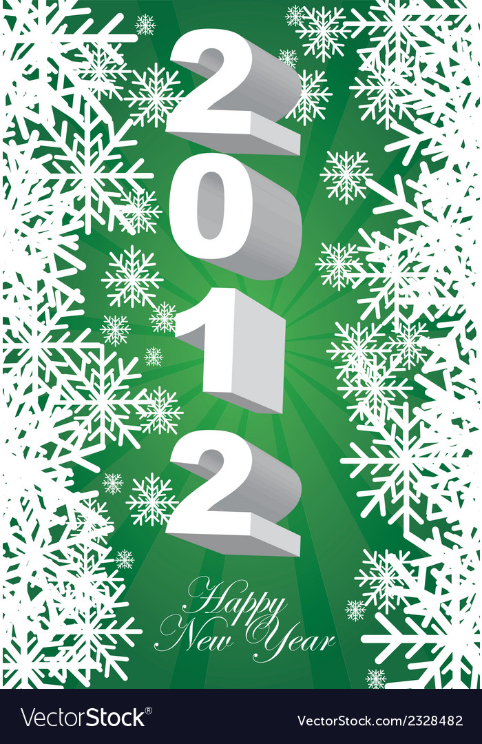 2012 green card with snowflakes background vector | Price: 1 Credit (USD $1)